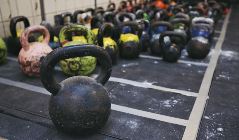 kettlebells in gym